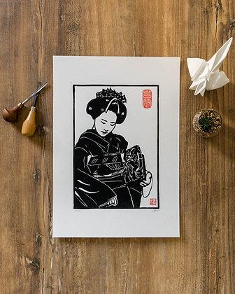 Linogravure Geisha