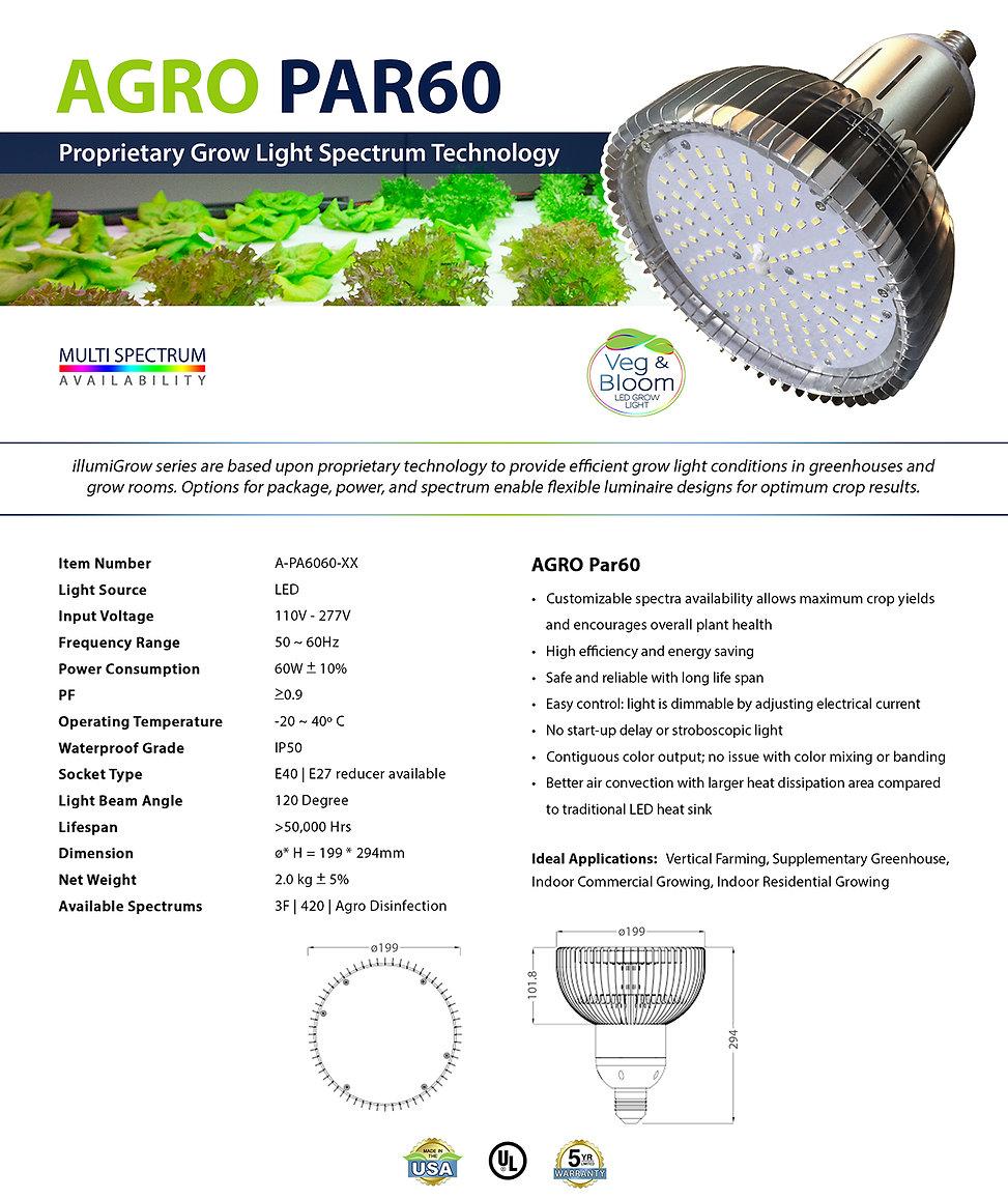 Par 60 LED Grow Light Spec Sheet