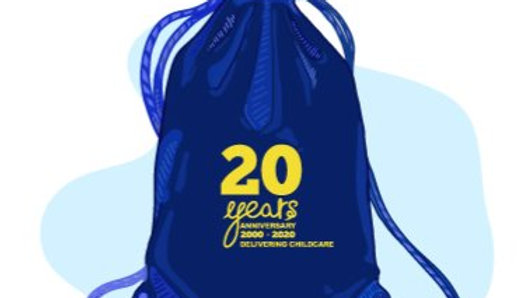 ANNIVERSARY DRAWSTRING BAG WITH LOGO