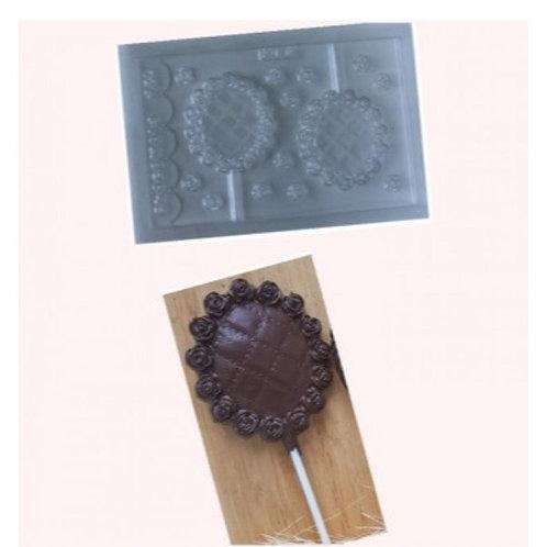 Forma de chocolate Pirulito Rosas