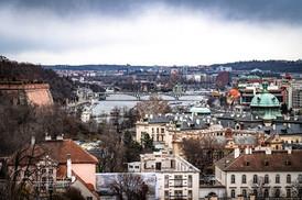 VIEW OF VLTAVA RIVER AND PRAGUE