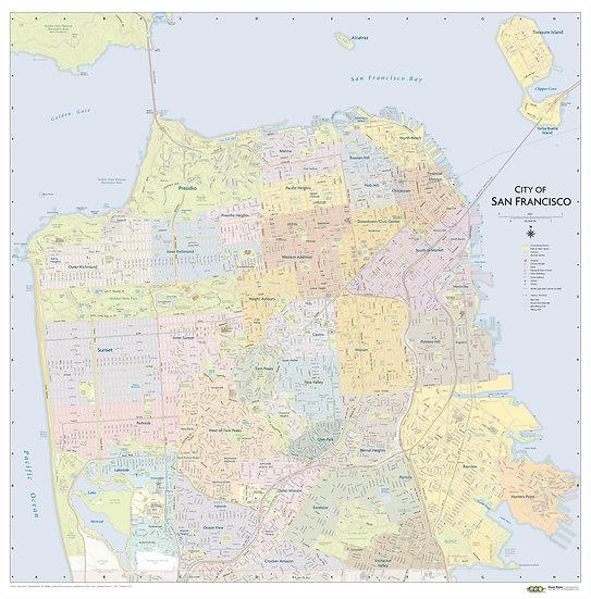 SF Neighborhoods Wall Map