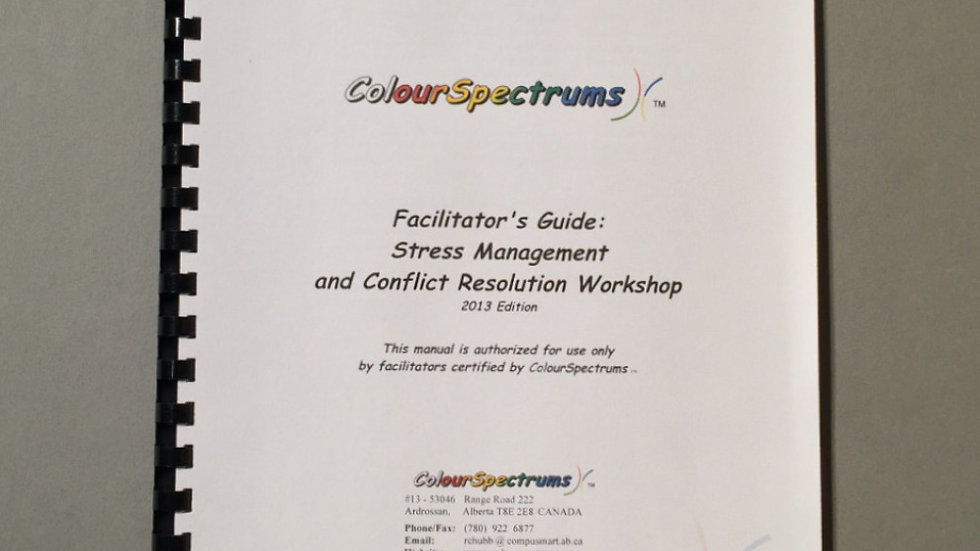 CS 011 Facilitators Guide: Stress Management and Conflict Resolution