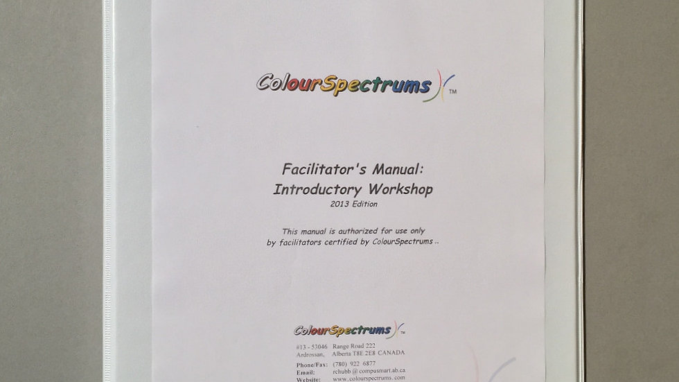 CS 003 Facilitator's Manual: Introductory Workshop (2013 ed.)