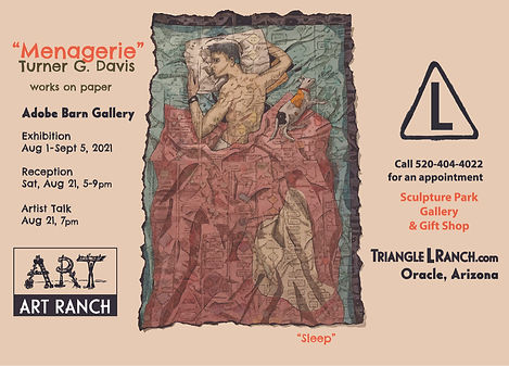 """Turner G. Davis """"Menagerie"""" works on paper exhibition Triangle L Ranch ART RANCH Oracle Arizona"""
