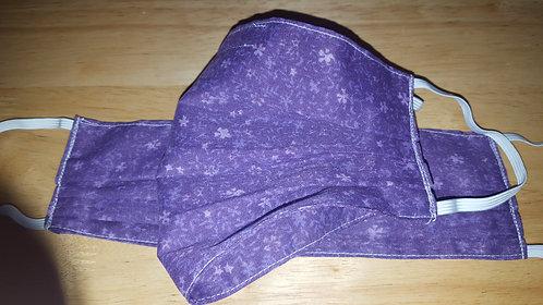 Purple Floral Cotton Mask - Adult
