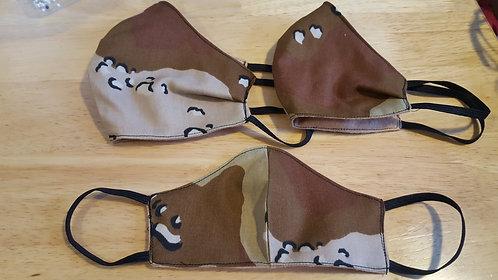 Camo/Tan Contoured Cotton Masks - 4 Sizes