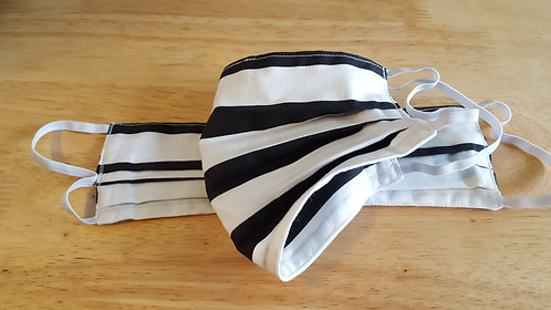 Black/White Cotton Mask - Adult