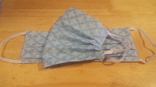 Blue Trellis Cotton Mask - Adult