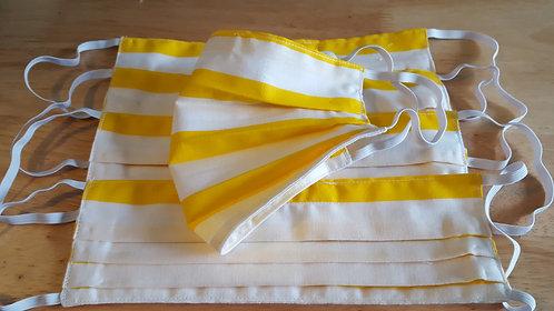 Yellow/White Cotton Mask - Adult