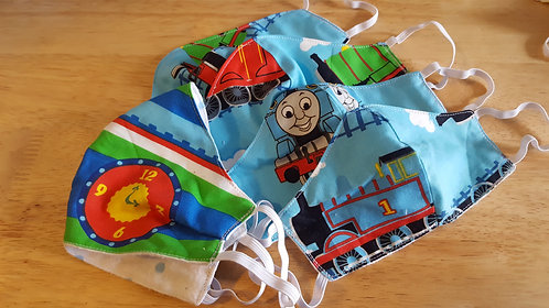 Trains/Polka Dots Contoured Cotton Masks - 4 Sizes