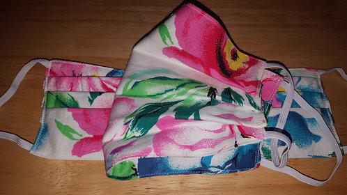 Hawaiian Floral Cotton Mask - Adult
