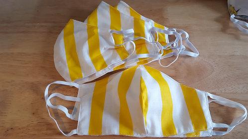 Yellow/White Contoured Cotton Masks - 4 Sizes