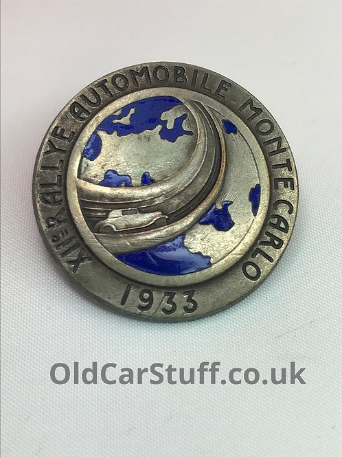 1933 monte carlo rally enamel badge