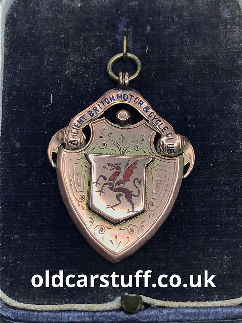 Ancient Briton Motor & Cycle Club 9ct Gold Pendant or Fob 1908