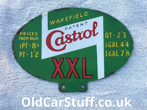 Castrol oil dispenser enamel sign vintage