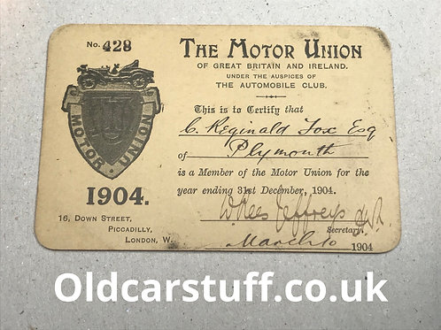 1904 Motor Union membership card driving licence