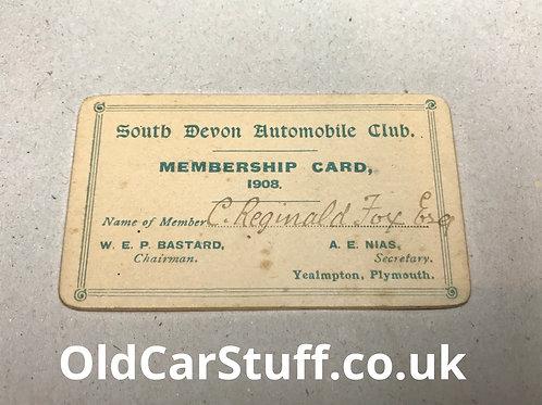 1908 South Devon Automobile Club membership card