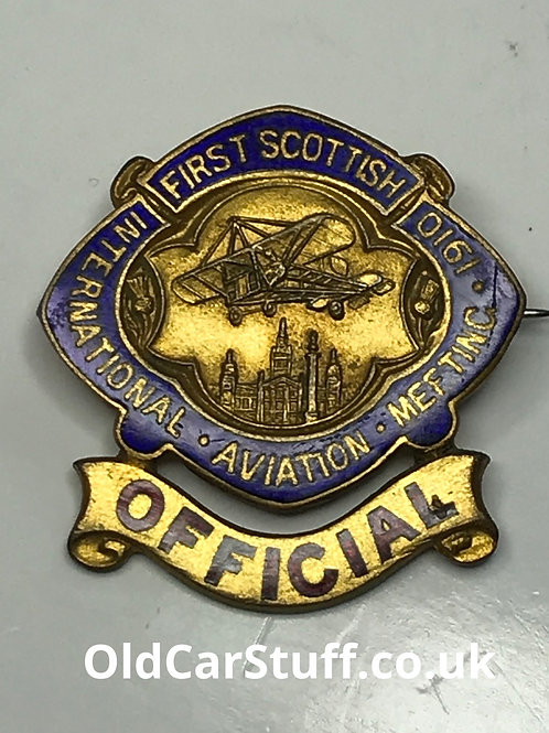 1910 First Scottish Aviation Meeting enamel badge