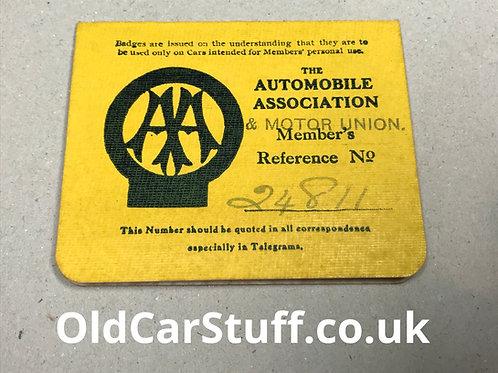 1910 AA Membership card