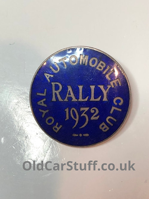 Royal Automobile Club Rally enamel pin badge 1932 RAC