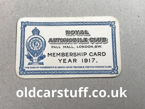 1917 RAC membership card