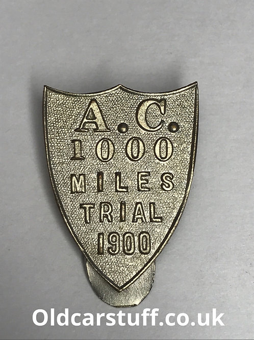 Automobile Club AC 1000 Miles Trial 1900 Clip badge Spencer