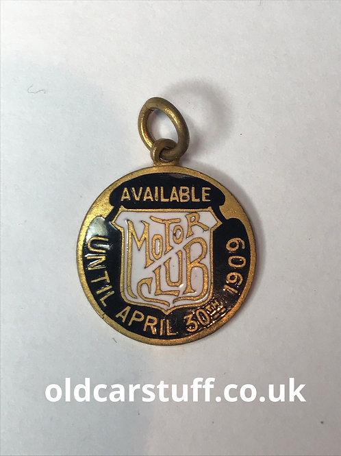 Motor Club enamelmembers badge