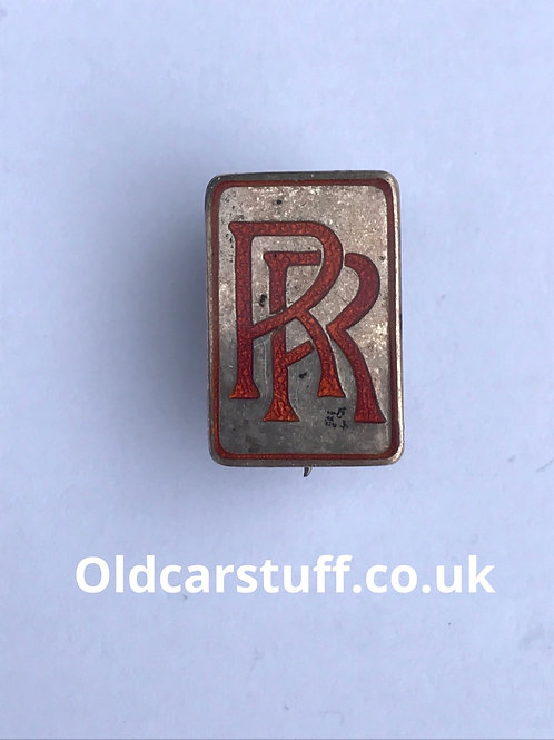 Red enamel Rolls Royce pin badge Silver