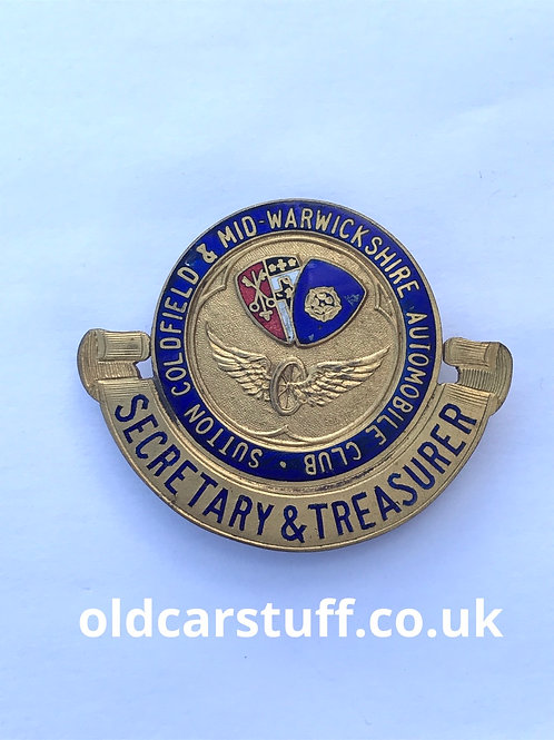 Sutton Coldfield Warwickshire enamel pin badge Automobile Club
