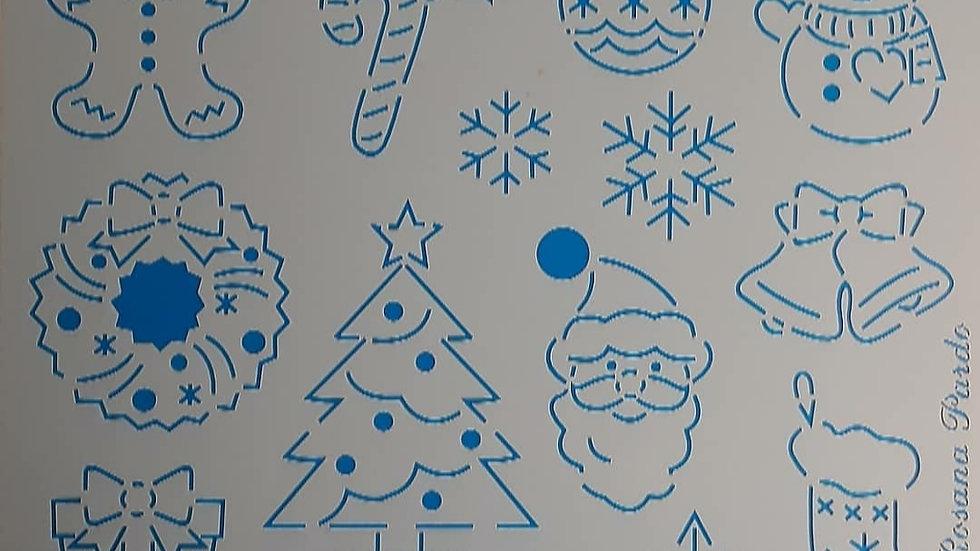 Estêncil para bordado Natal Árvore  e outros