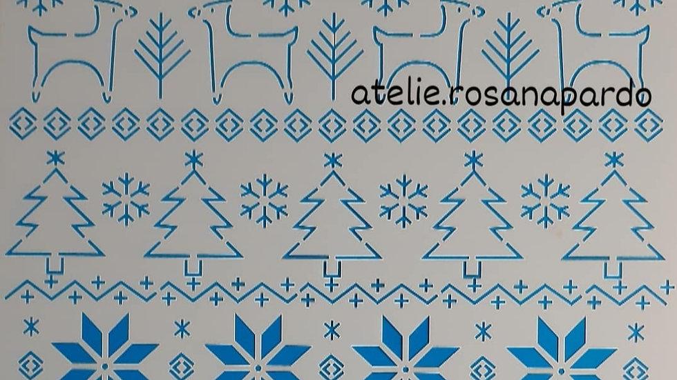 Estêncil para bordado Natal Rena e outros