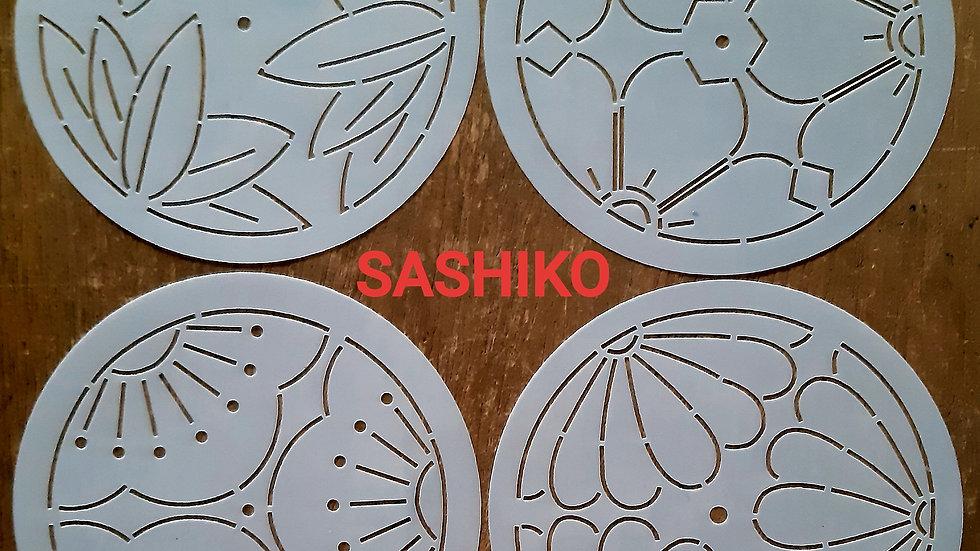 Kit de estênceis para Sashiko Flores em Círculos