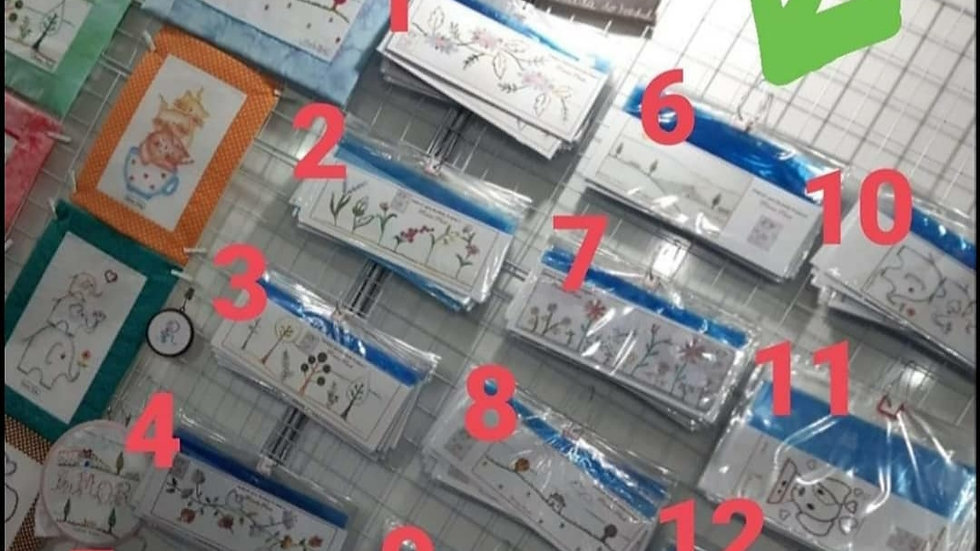 Estênceis de bordado variados. Preço  unitário,  R$20 cada