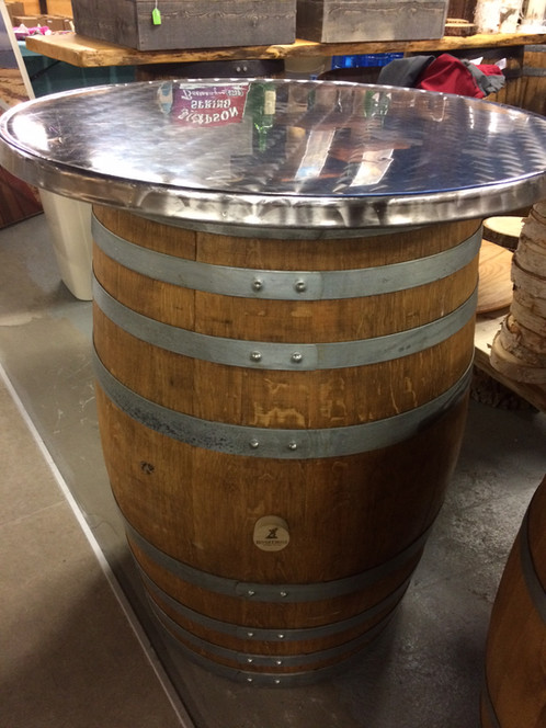 Napa Wine Barrels U0026 Bourbon Whiskey Barrel Tables W/Polished Steel Tops  (Rental)