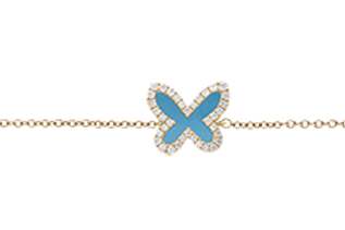 Collier Papillon Or J / Turquoise