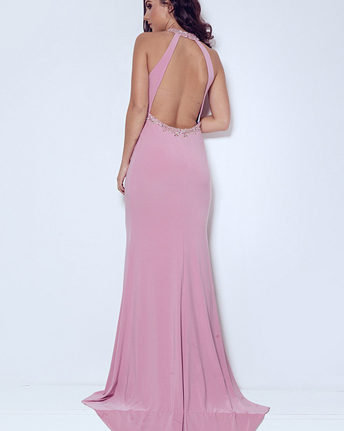 Dynasty London | Linneae Peony Pink long dress with scarf style 1023304