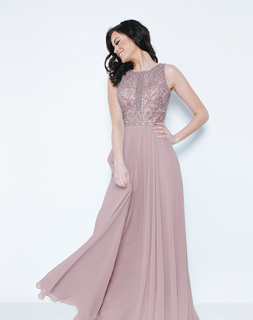 Dynasty London | Kayanna Peony Pink Long Dress with Scarf 1023405