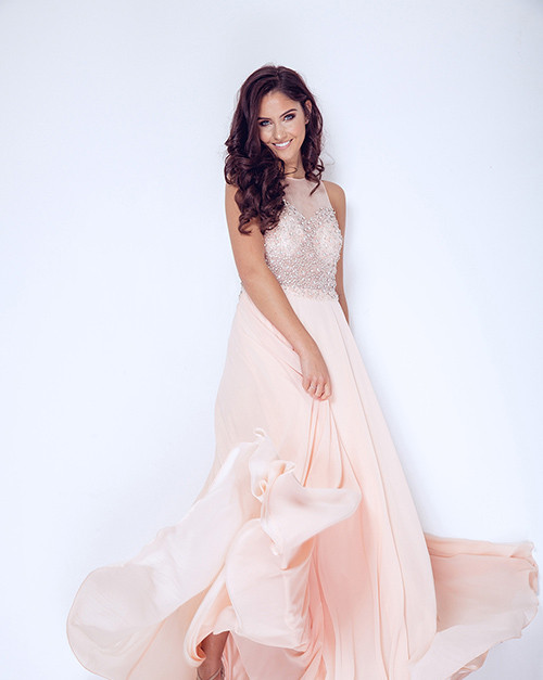 DYNASTY LONDON | Lucerne Blush long dress with scarf style 1023301