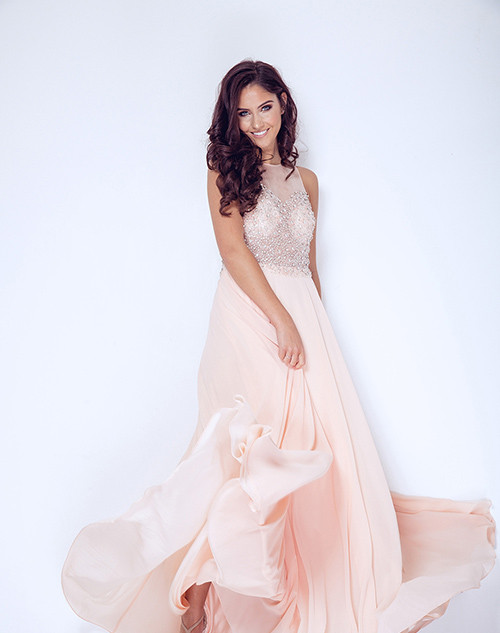 DYNASTY LONDON | Lucerne Blush long dress with scarf style 1023301