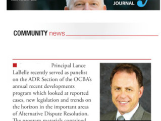 Attorney Journal Features Lance LaBelle for OC Bar Association ADR Section Panel Participation