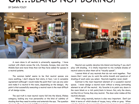 Neutral with Personality or … Bland not Boring!