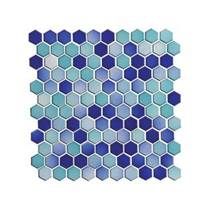 Hexagon Turkuaz+Lacivert Mozaik