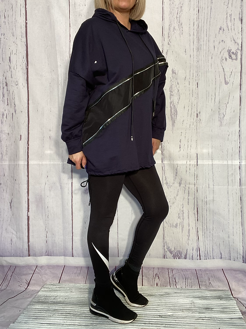 Quirky navy zip detail top fitting up to a size 20