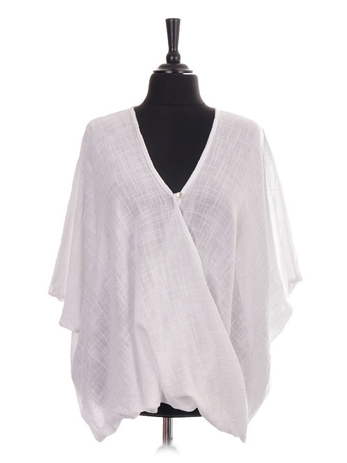 White plain crossover top, fitting sizes 10-24