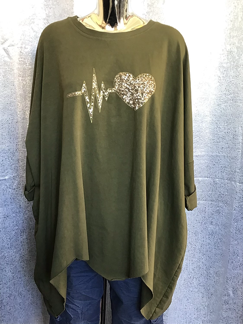 Khaki heartbeat quirky sweater. Fitting up to a size 22.   1769