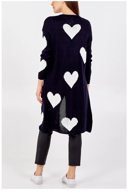 Navy & White Heart Edge To Edge Knitted Long Cardigan