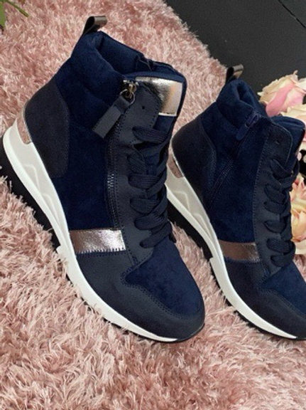 Navy wedge ankle trainers