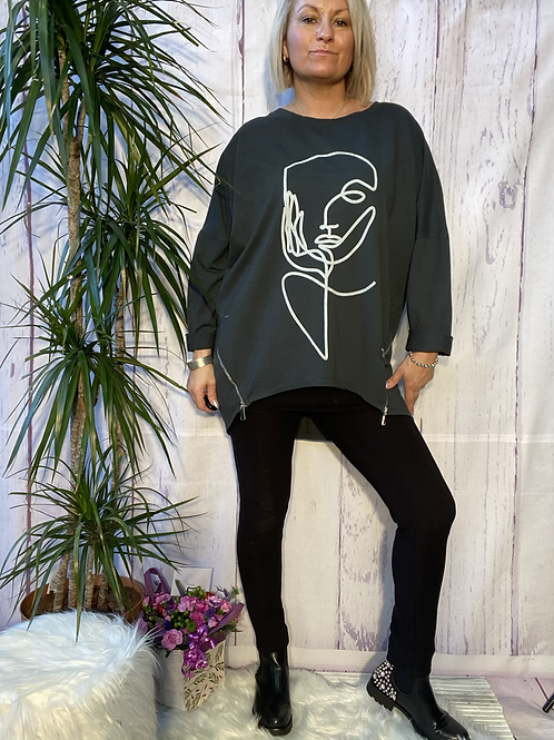 Grey Picasso sweatshirt fitting up to a size 18.   12113