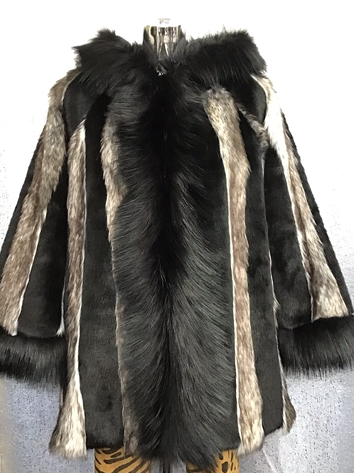 Black and fawn faux fur hooded coat fitting up to a size 18